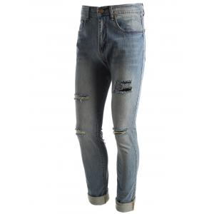 Faded Wash Ripped Jeans - BLUE 32