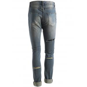 Faded Wash Ripped Jeans - Bleu 36