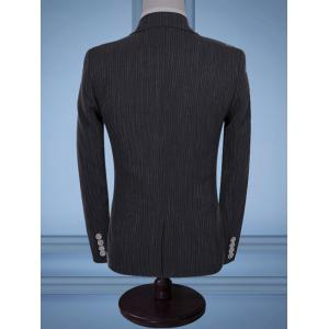 Flap Pocket Stripe Three-piece Business Suit - GRAY 2XL