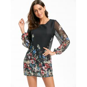 Sheer Long Sleeve Floral Mini Chiffon Dress - BLACK M