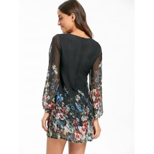 Sheer Long Sleeve Floral Mini Chiffon Dress - BLACK L
