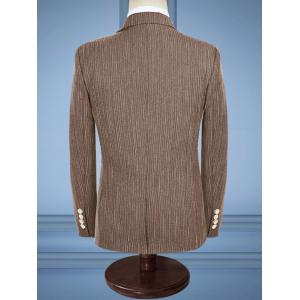 Slim Fit Stripe Lapel Casual Business Suit - COFFEE 2XL