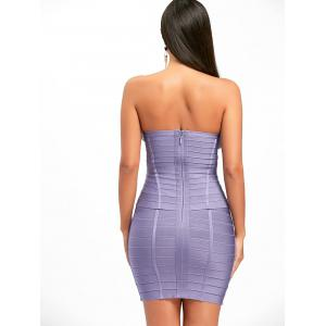 Hollow Out Strapless Bandage Dress - PURPLE L