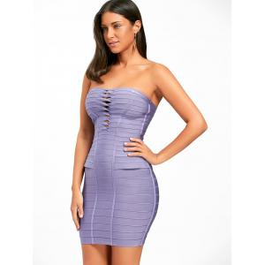 Hollow Out Strapless Bandage Dress - PURPLE M