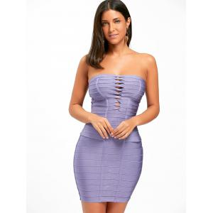 Hollow Out Strapless Bandage Dress - PURPLE S