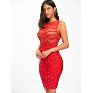 Mesh Insert Studded Sleeveless Bandage Dress - RED S
