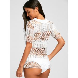 Plunge Crochet Cover Up Top - Blanc M