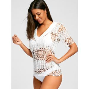 Plunge Crochet Cover Up Top - WHITE L