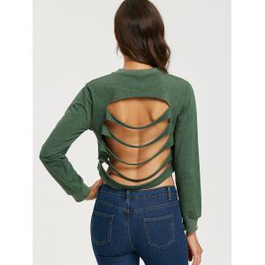 Ripped Backless Crop Sweatshirt - ARMY GREEN S