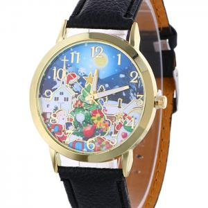 Christmas Night Tree Face Quartz Watch - BLACK