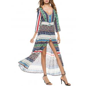 Bohemian Slit Flowy Long Print Dress - COLORMIX S