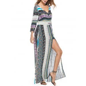 High Slit Plunge Bohemian Print Dress -