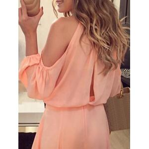 Cold Shoulder Chiffon Mini Dress - ORANGE PINK S