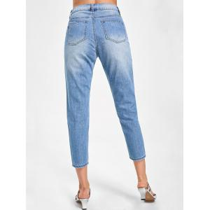 Embroidered Distressed Capri Jeans - DENIM BLUE XL