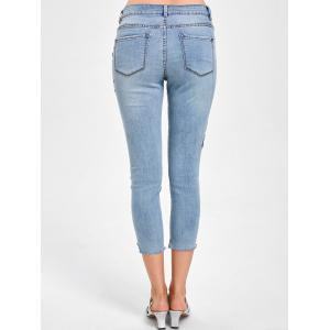 Embroidered Faded Capri Jeans - DENIM BLUE M