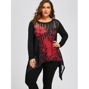 Halloween Plus Size Two Tone Ripped Top -