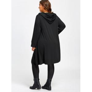 Heaps Collar Plus Size High Low Long Hoodie -
