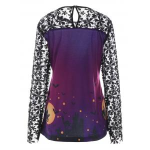 Halloween Print Lace Panel Long Sleeve T-shirt - PURPLE XL