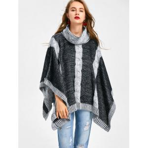 Black/grey One Size Cable Knit Cowl Neck Poncho Sweater | RoseGal.com