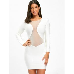 Long Sleeve Mesh Insert Bandage Mini Tight Dress -