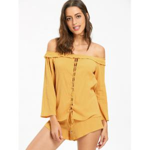Off The Shoulder Lace Up Blouse with Shorts -