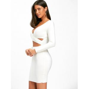 Long Sleeve Bodycon Cut Out Front Bandage Dress -