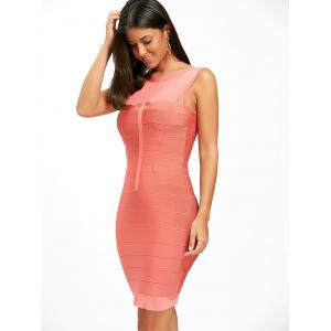 Back Cut Out Mesh Panel Bandage Dress -