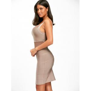 Mesh Insert Back Cut Out Bodycon Bandage Dress -