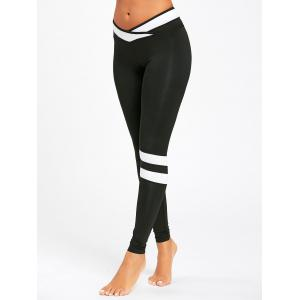 Contrast Stripe Panel Workout Leggings -