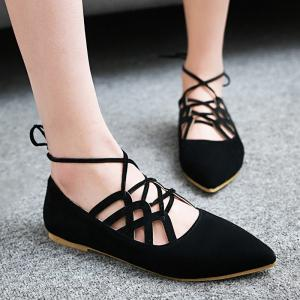 Hollow Out Pointed Toe Flat Shoes -