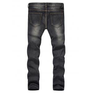 Straight Leg Bleached Effect Distressed Jeans -