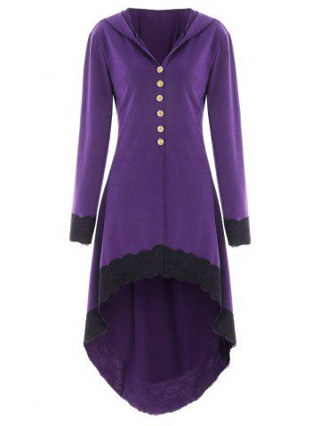 Discount Hooded Lace Insert Lace-up High Low Coat
