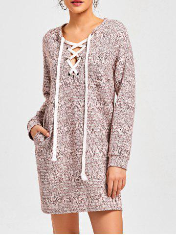 Trendy Heathered Lace Up Sweatshirt Dress