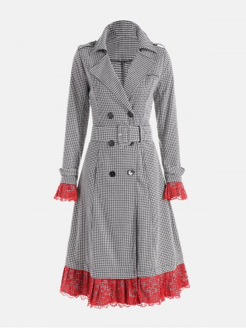 Houndstooth Print Lace Trim Belted Long Coat Blanc et Noir XL