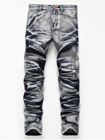 Hot Tie Dye Zip Fly Straight Jeans COLORMIX 32