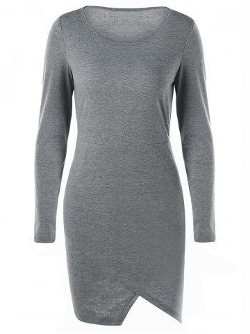 New Overlap Jersey Long Sleeve Bodycon Dress