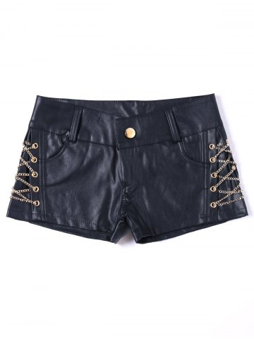 Fancy Short Metal Lace Up Faux Leather Shorts - XL BLACK Mobile