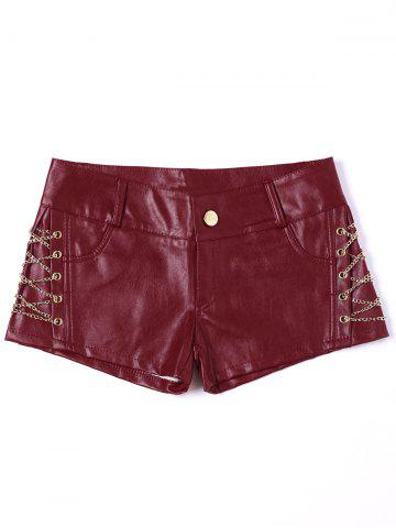 Hot Short Metal Lace Up Faux Leather Shorts - XL RED Mobile
