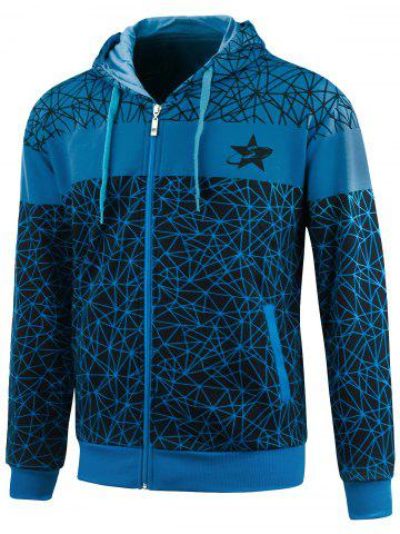 Affordable Geometric Print Zip Up Plus Size Hoodie - 4XL BLUE Mobile