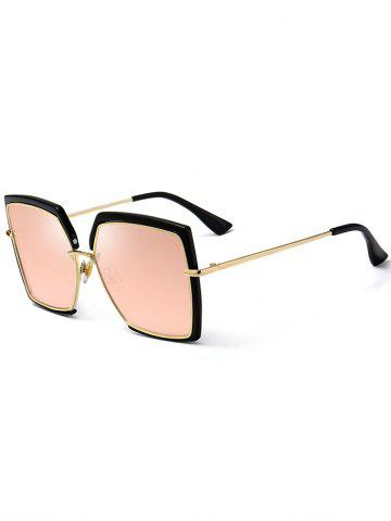 Cheap Vintage Metal Full Frame Oversized Square Sunglasses PINK