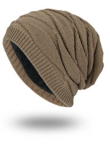 Fancy Soft Stacking Stripe Baggy Knitted Beanie - KHAKI  Mobile