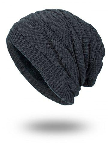 Outfit Soft Stacking Stripe Baggy Knitted Beanie - GRAY  Mobile