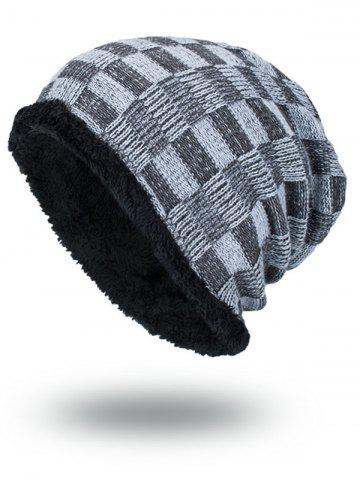 Affordable Outdoor Checked Pattern Velvet Slouchy Beanie - GRAY  Mobile