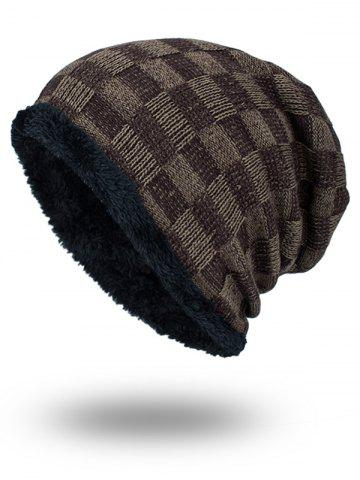 Shop Outdoor Checked Pattern Velvet Slouchy Beanie