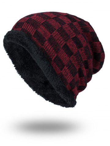 Online Outdoor Checked Pattern Velvet Slouchy Beanie DARK RED