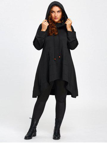 Affordable Heaps Collar Plus Size High Low Long Hoodie - 5XL BLACK Mobile