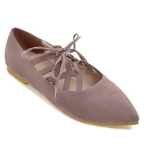 Online Hollow Out Pointed Toe Flat Shoes PALE PINKISH GREY 41