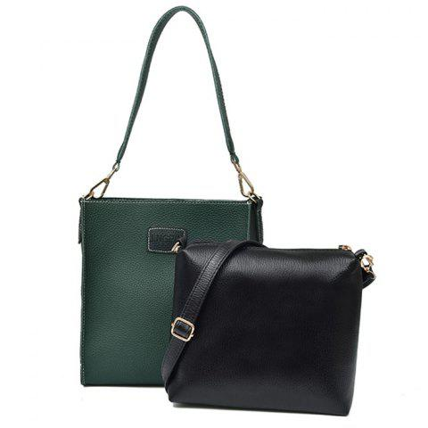 Online Patch Pocket Contrasting Color Shoulder Bag Set