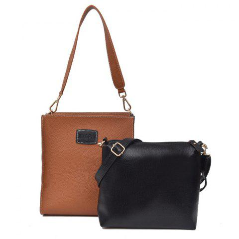 New Patch Pocket Contrasting Color Shoulder Bag Set