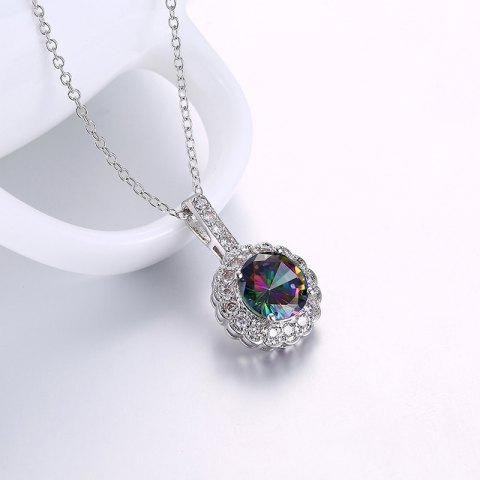 Faux Gemstone Flower Round Collarbone Necklace